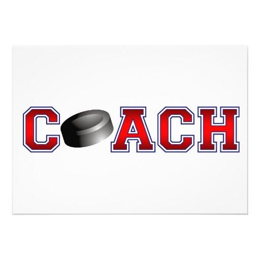 Nice Coach Hockey Insignia Custom Invites