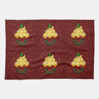 Nice Cupcake with Christmas tree Towels