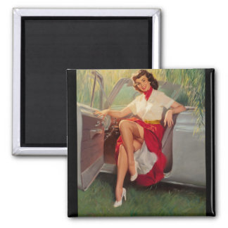 Nice Day for a Drive Pin Up Art Magnet
