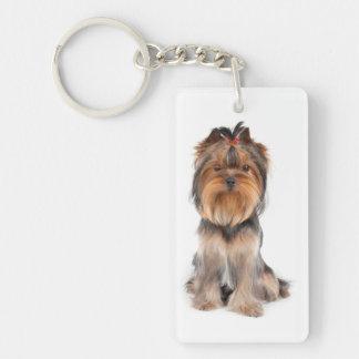 Nice dog rectangle acrylic key chain