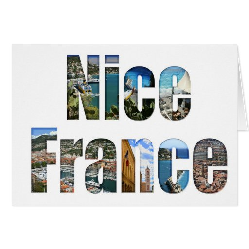 Nice, France tourist attractions in letters Greeting Cards