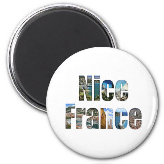 Nice, France tourist attractions in letters 6 Cm Round Magnet