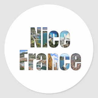 Nice, France tourist attractions in letters Round Sticker