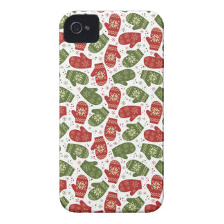 Nice fun red green Christmas Gloves and snowflakes iPhone 4 Case-Mate Case