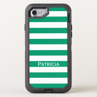 Nice Jade Green / White Striped. Add Your Name! OtterBox Defender iPhone 7 Case