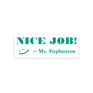"""NICE JOB!"" Acknowledgement Rubber Stamp"