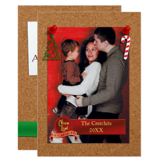 Nice List Certified Cork Board Christmas Photo 13 Cm X 18 Cm Invitation Card