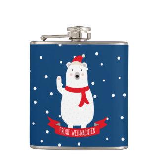 "Nice polar bear ""glad Christmas"" German Hip Flask"