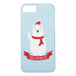 "Nice polar bear ""glad Christmas"" German iPhone 8/7 Case"