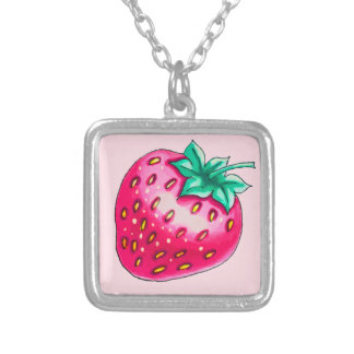 Nice red strawberry silver plated necklace