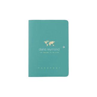 nice turquoise blue passport holder