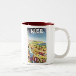 Nice Vintage Travel Poster Two-Tone Mug