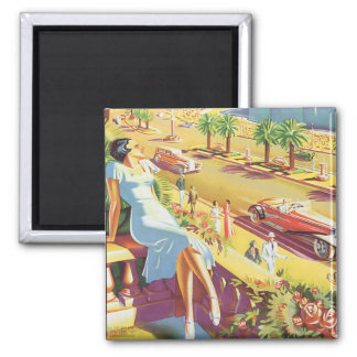 Nice Vintage Travel Poster Square Magnet