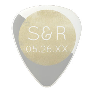 nice wedding monogram with musician's initials polycarbonate guitar pick