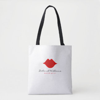 nice white tote bag with her name & red lips