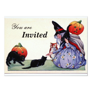 Nice Witch Cats Owl Halloween Invitation