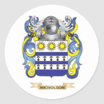 Nicholson Coat of Arms (Family Crest) Round Sticker