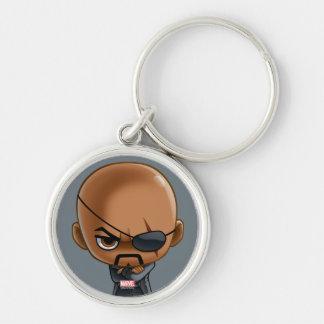 Nick Fury Stylized Art Silver-Colored Round Key Ring