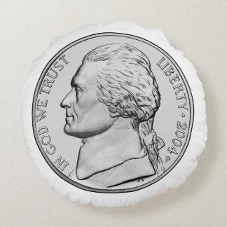 Nickel Coin Round Pillow. Round Cushion