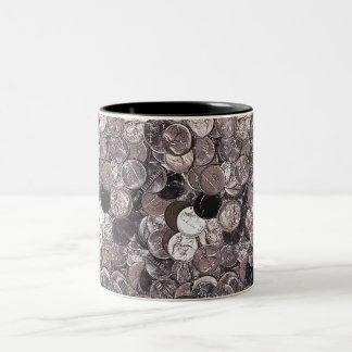 Nickel Coins Graphic Two-Tone Coffee Mug