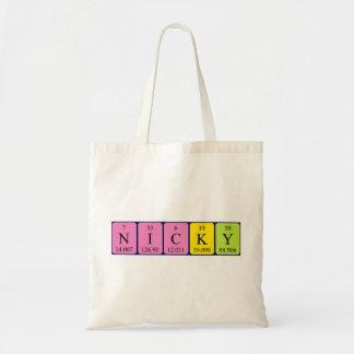 Nicky periodic table name tote bag