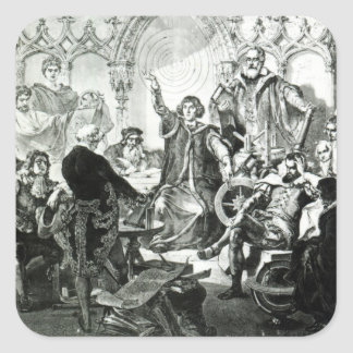 Nicolaus Copernicus  Explaining his Theory Square Sticker