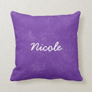 NICOLE Purple White Custom Name Gift Collection Cushion