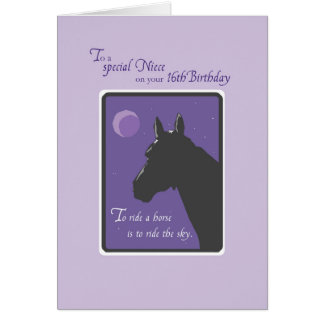 Niece 16th Birthday with Horse at Night on Purpl Card