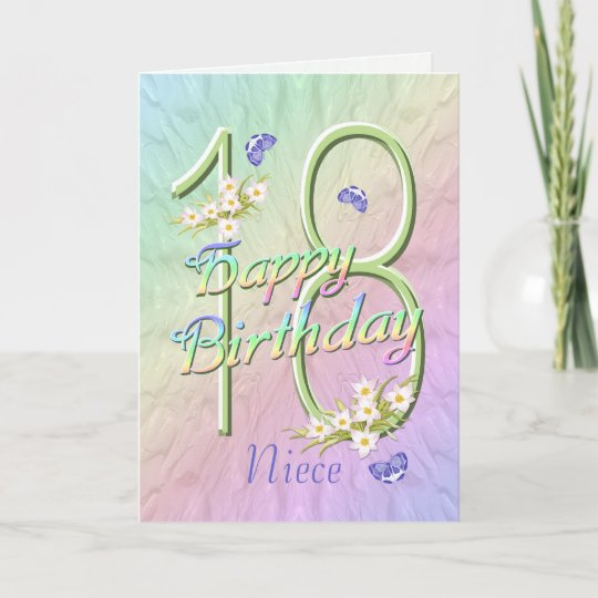 Birthday Flowers For Niece: Niece 18th Birthday Butterflies And Flowers Card