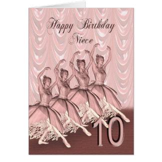 Niece age 10, a ballerina birthday card