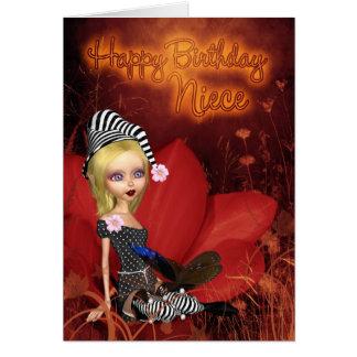 Niece, Birthday Card With Cute Fantasy Elf On A Po