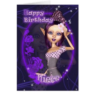 Niece - Birthday Card With Cute Fantasy Elf - Purp