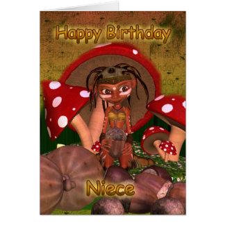 Niece Birthday Card With Cute Modern Elf