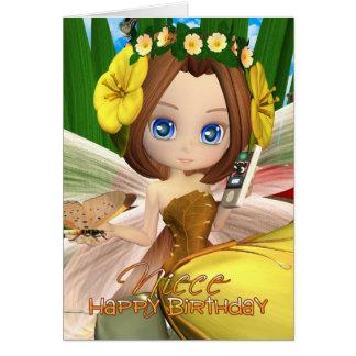 Niece Birthday card with moonies cutie Fall Fairy