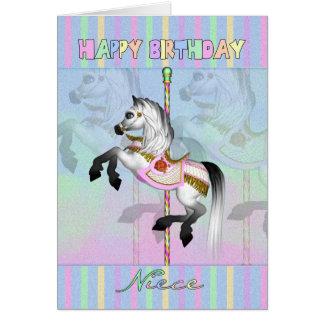 niece carousel birthday card - pastel carousel hor