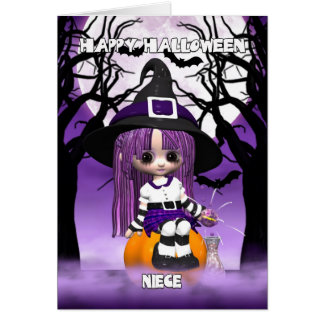 Niece Cute Witch Halloween Greeting Card