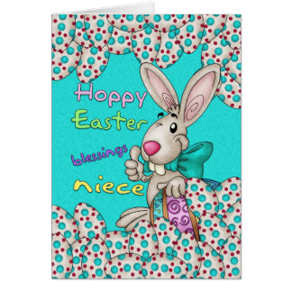 Niece Easter Card With Easter Bunny And Eggs