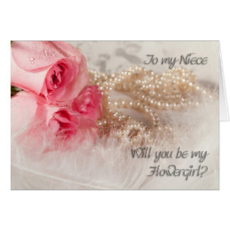 Niece, Flowergirl invitation with roses and pearl