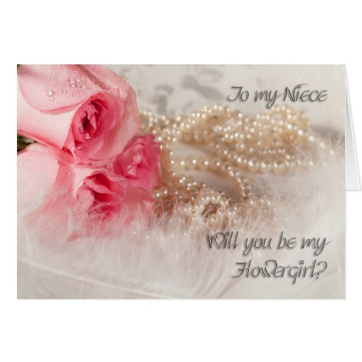 Niece, Flowergirl invitation with roses and pearl Cards