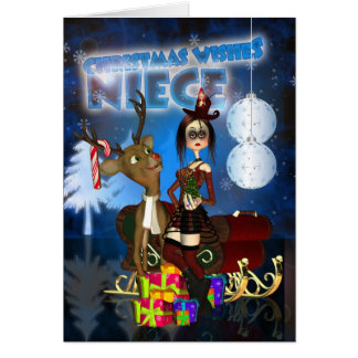 Niece Gothic Christmas Card, H.I.P. And Reindeer Greeting Card