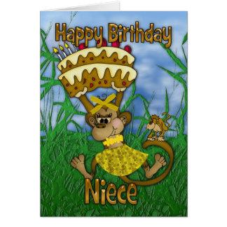 Niece Happy Birthday with monkey holding cake Card