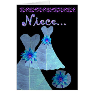 NIECE - Junior Bridesmaid Invitation BLUE Gown Greeting Card