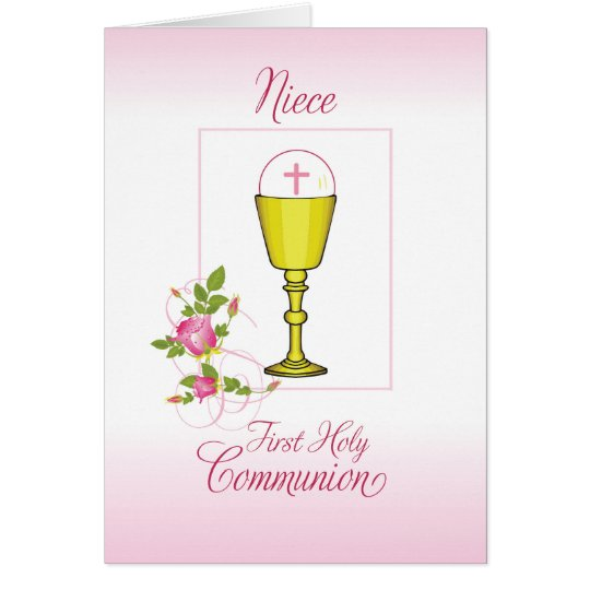 Niece Pink First Holy Communion, Chalice, Host Card
