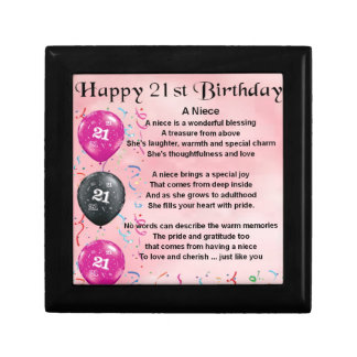 Niece Poem - 21st Birthday Small Square Gift Box