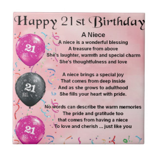 Niece Poem - 21st Birthday Small Square Tile