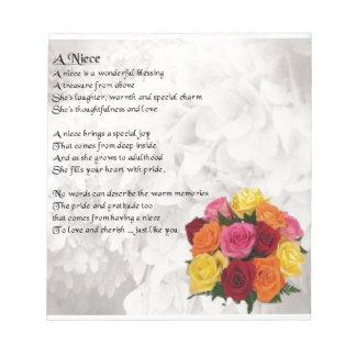 Niece Poem - Flowers Notepads