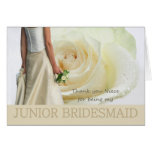 Niece Thank You Junior Bridesmaid White rose Note Card