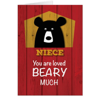 Niece, Valentine Bear Wishes on Red Wood Grain Loo Card