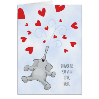 Niece Valentine's Day Elephant & Hearts Card