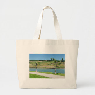 Niederwalddenkmal with coarse home on the Rhine Large Tote Bag